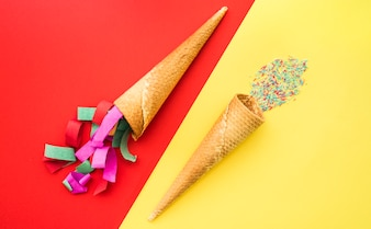 Red and yellow background with ice cream cones