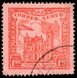 red asuncion cathedral airmail stamp