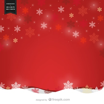 Red background vector with snowflakes