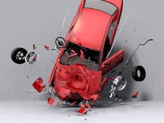 Red car crashing on the floor