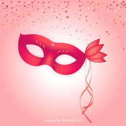 Red carnival mask with a shining heart