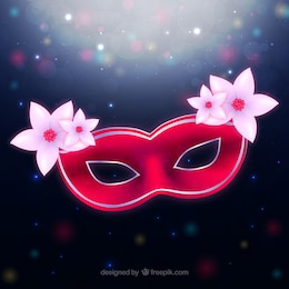 Red carnival mask with bright flowers