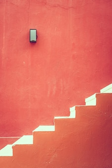 Red concrete staircase