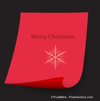 Red curled paper banner with snowflake