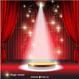 Red curtain spotlight stage vector