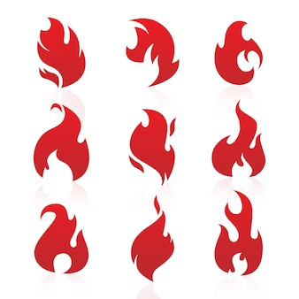 Red fire flames