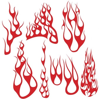 Red flame shapes vector pack