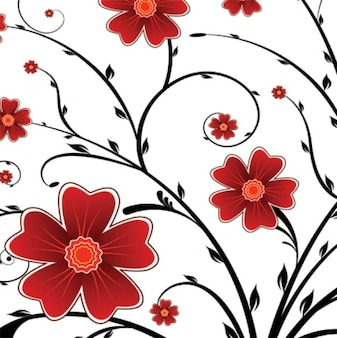 red flower floral background vector graphics