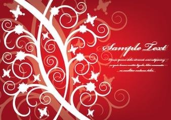 red flower swirls background