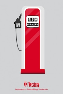 Red gas pump retro vector