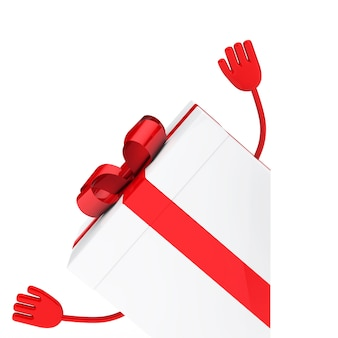 Red gift with arms