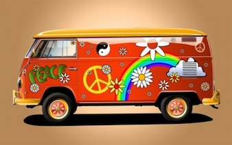 Red hippie vehicle with rainbow and flowers