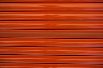 Red metal roller door