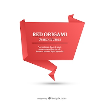 Red origami speech bubble template