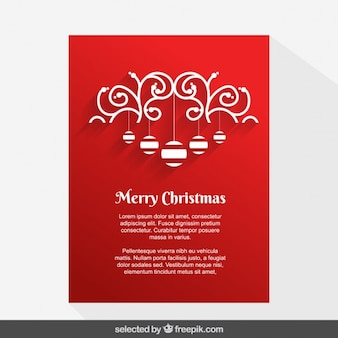 Red ornamental Christmas card with baubles
