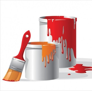 Red paint with dripping paintbrush