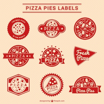Red pizza labels collection