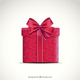 Red present box with ribbon