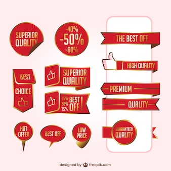 Red ribbons vector set