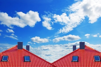 Red roof with clouds