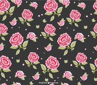 Red roses dark seamless pattern
