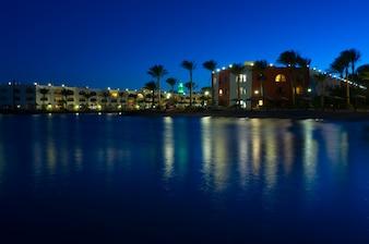 Red Sea resort at night