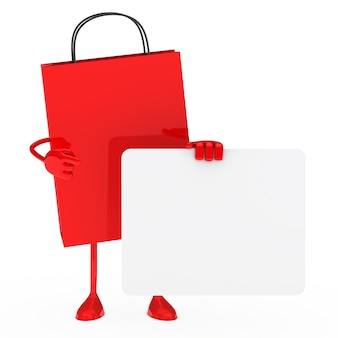 Red shopping bag holding a blank sign
