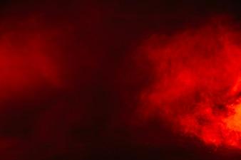 Red smoke in studio