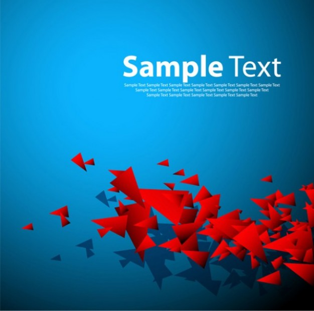 Red triangular shapes on blue background