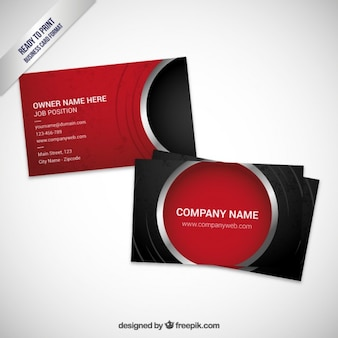 Red visit card template