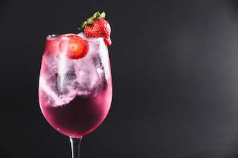 Refreshing cocktail with strawberries