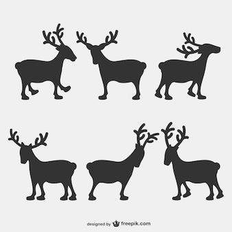 Reindeers silhouettes pack