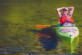 Relaxed Kayaker on the Lake