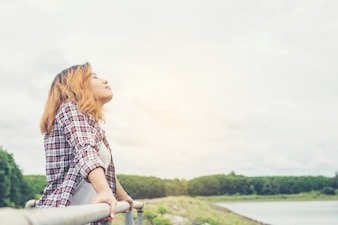 Relaxed woman breathing deeply