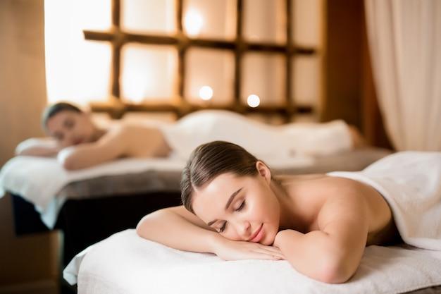 Relaxing in spa salon