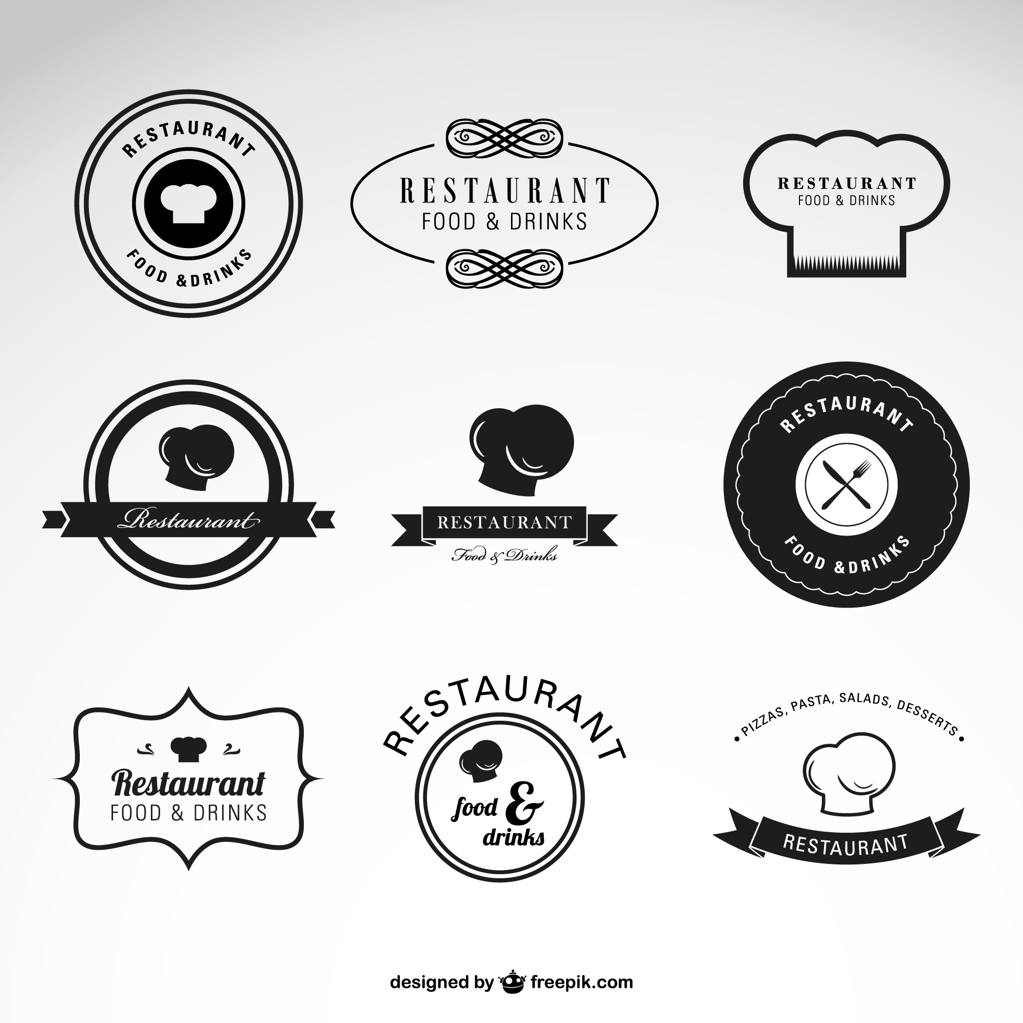 Restaurant food and drinks vector logos