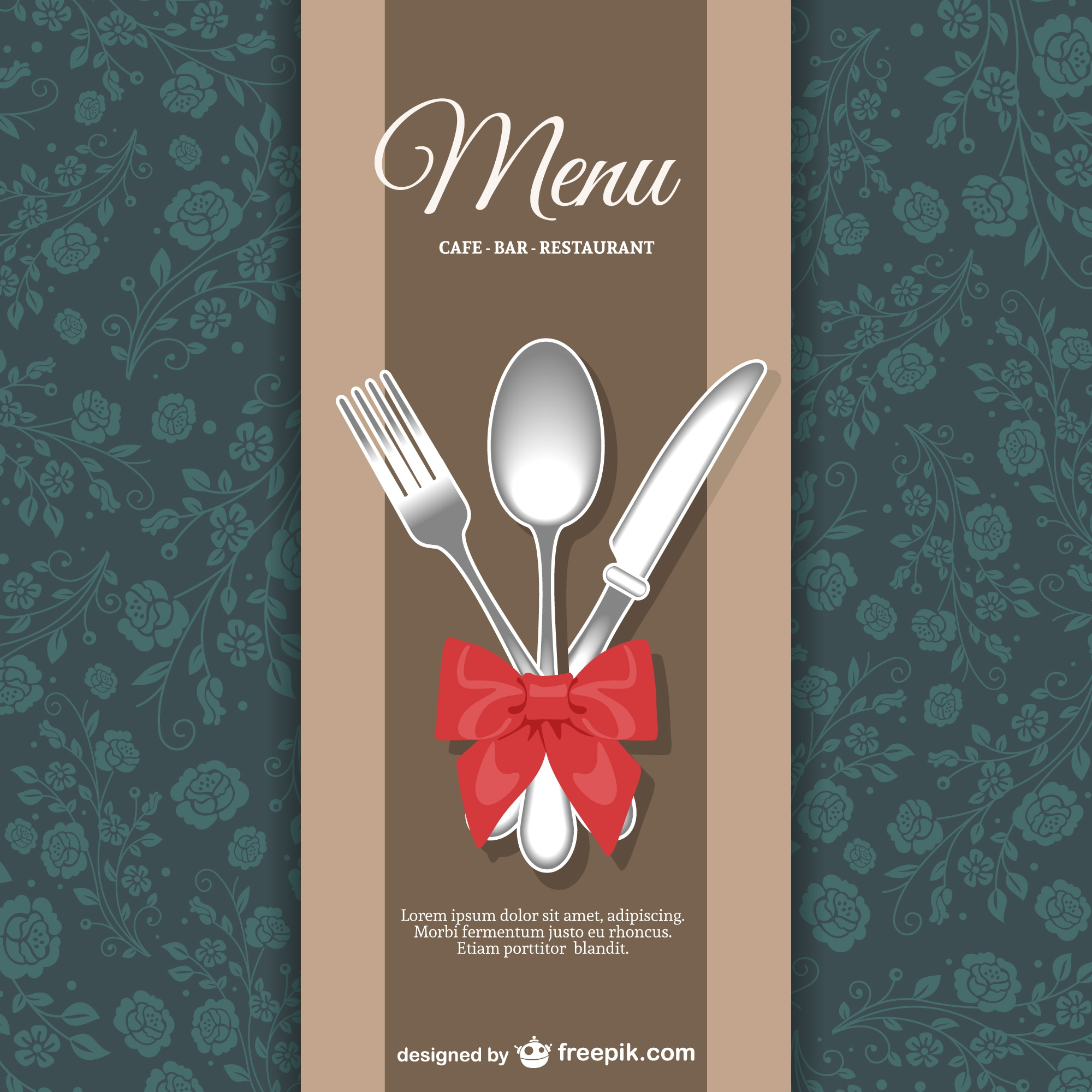 Restaurant menu floral design