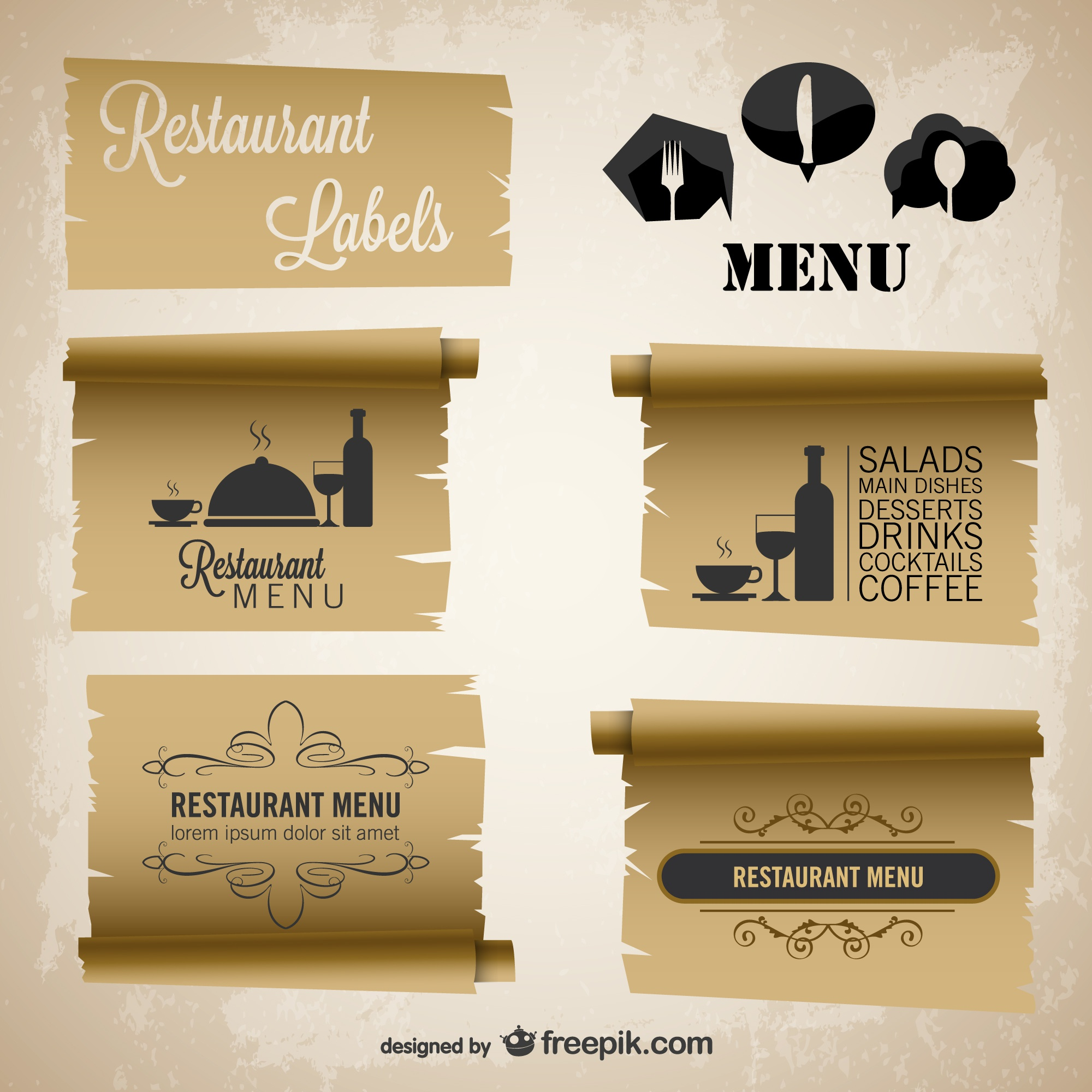 Restaurant menu vintage paper labels set