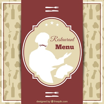 Restaurant menu with a  chef silhouette