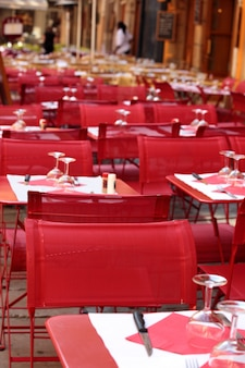 Restaurant scene of tables and chairs