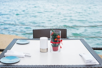 Restaurant table at sea