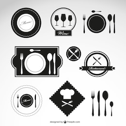 Restaurant vector symbols set