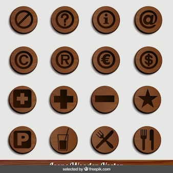 Restaurant wooden icons