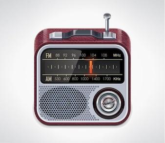 Retro am fm radio vector icon