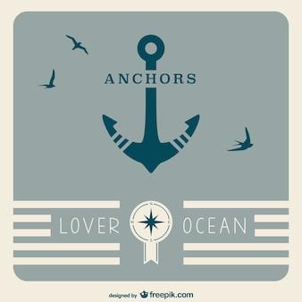 Retro anchor nautical poster