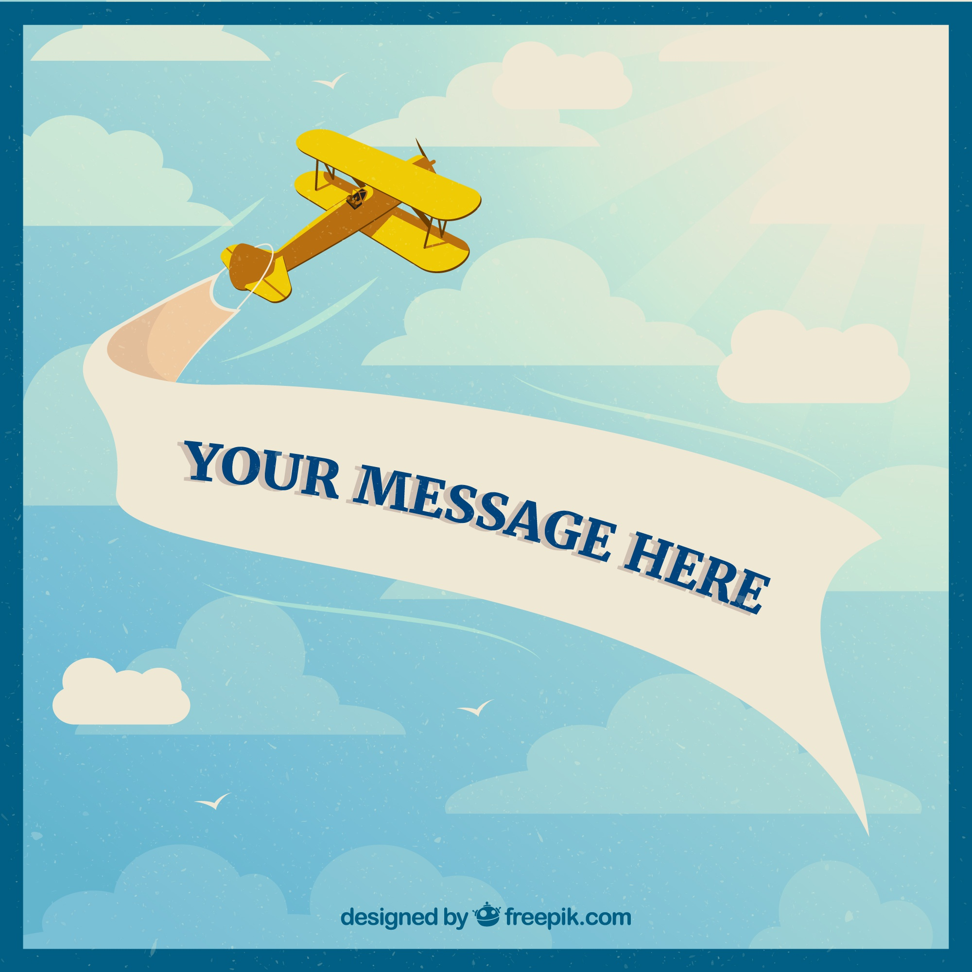 Retro announcement airplane vector