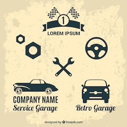 Retro auto service vector set