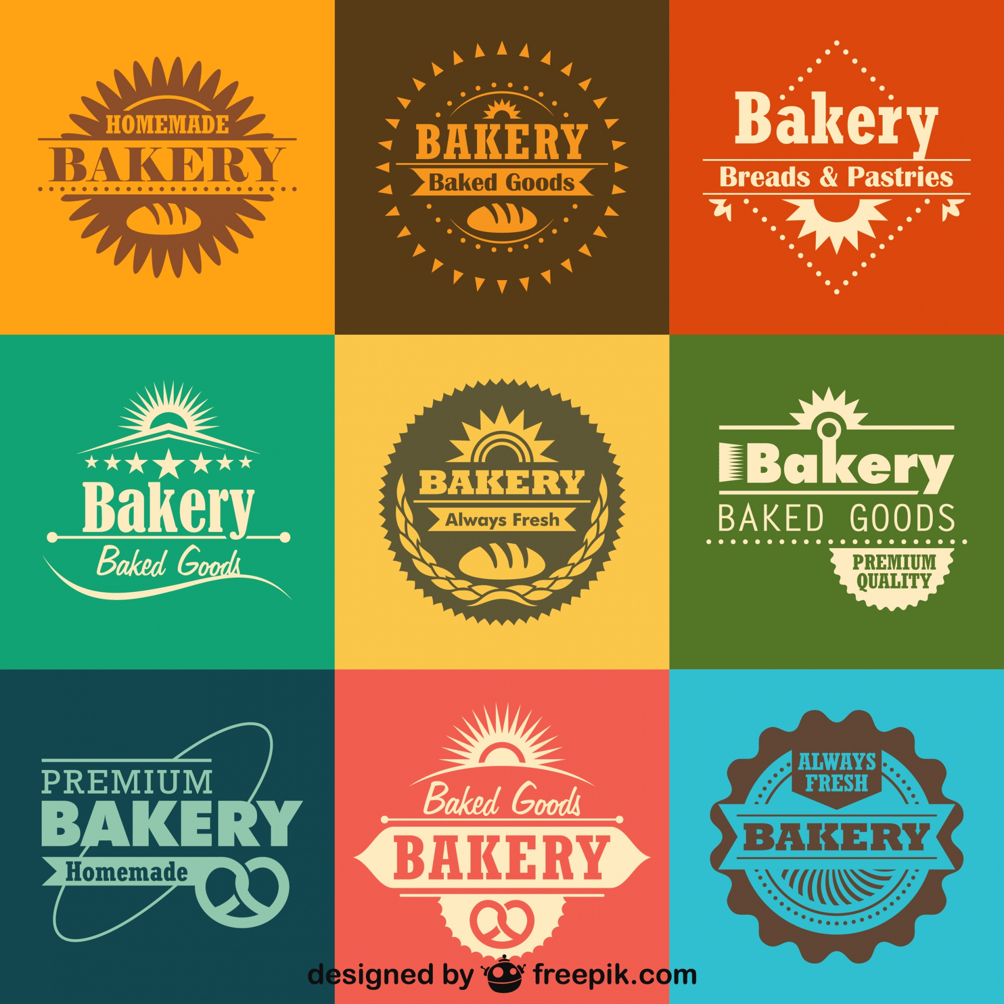 Retro Bakery Logos and Badges Collection