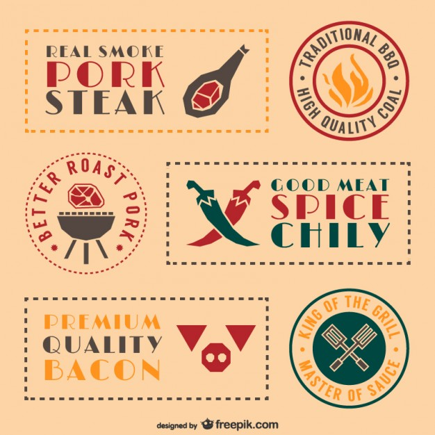 Retro barbecue food stickers and labels set