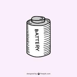Retro battery sketch vector